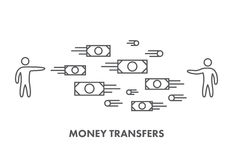 Line icon money transfer. Vector business symbol Royalty Free Stock Photos