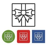 Line Icon Of Gift Box Stock Images