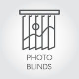Line icon of photo blinds. Simple outline logo for different design needs. House or office decor concept. Vector illustation on a gray background vector illustration