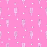 Line icon pink popsicle ice-cream seamless pattern. Royalty Free Stock Photography