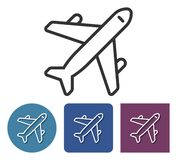 Line icon of plane. In different variants royalty free illustration