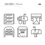 Line Icon of Post Office, Mail, Isolated Object. Line icons set stock illustration