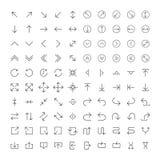 100 line icon set - Arrows. Light version for UI design. Vector icon set stock illustration