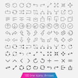 100 line icon set - Arrows. Trendy thin icons. Light version Stock Photo