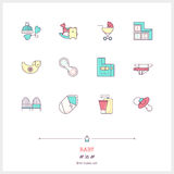 Line icon set of baby shop objects and tools elements. Baby game Stock Images