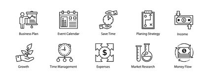 Line Icon of Business and Finance. This Line icon set consists of simply designed business and finance related icons that are best suited for your business Stock Images