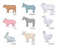 Line  icon set farm animals Royalty Free Stock Photo