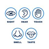 Line icon set of five human senses. Vision, hearing, smell, touch, taste. Vector flat line illustration icon design.Human nose, eye, hand, ear, mouth senses stock illustration