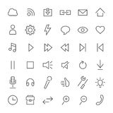 Line icon set. Media, music, basic settings Stock Image