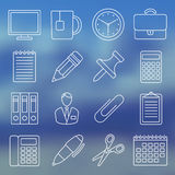Line icon set of office supplies Stock Photography