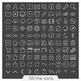 100 line icon set. Trendy thin and simple icons for Web and Mobile. Dark version Stock Photography