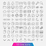 100 line icon set. Trendy thin and simple icons for Web and Mobile. Light version Royalty Free Stock Photography