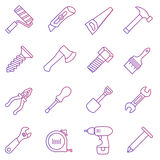 Line icon set of work tools Royalty Free Stock Photography