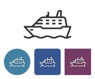 Line icon of ship. In different variants stock illustration