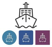 Line icon of ship. In different variants vector illustration