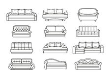 Line icon sofa set. Collection of furniture for home interiors Stock Photography
