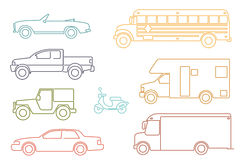 Line Icon Style Transportation and Automotive Symbol Vector Set Stock Image