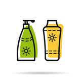 Line icon - sunscreen two tube Royalty Free Stock Images