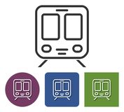 Line icon of train. In different variants stock illustration