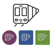 Line icon of train. In different variants royalty free illustration