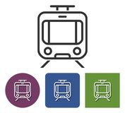 Line icon of tram. In different variants vector illustration