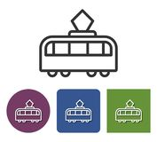 Line icon of tram. In different variants stock illustration