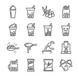Bubble tea icon set. Included the icons as bubble, milk tea, shake, drink, pouring, boba juice and more. Line icon vector: Bubble tea icon set. Included the royalty free illustration
