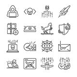 Hacker icon set. Included the icons as hacking, malware, worm, spyware, computer virus, criminal and more. Line icon vector: Hacker icon set. Included the icons vector illustration