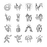Happy line icon set. Included the icons as fun, enjoy, party, good mood, celebrate, success and more. royalty free illustration