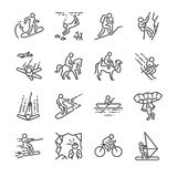 Travel activities line icon set. Included the icons as sailing, skiing, parachute, horse riding, biking, cycling and more. stock illustration