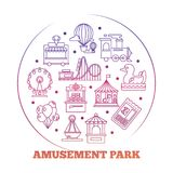 Line icons amusement park round logo design. Line icons flat amusement park round logo design. Vector illustration Royalty Free Stock Images