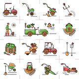 Line icons art agriculture agricultural machinery garden tools. Agriculture, agricultural machinery, garden tools, Gardening equipment: tillers cultivators mini Royalty Free Stock Images