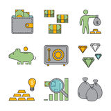 Line icons for banking and investment. Vector linear set. For web Stock Images