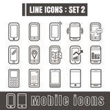 Line icons black set 2. Illustration eps 10 on white background Stock Images