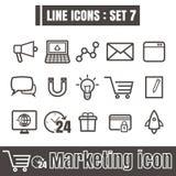 Line icons black set 7. Illustration eps 10 on white background Royalty Free Stock Image