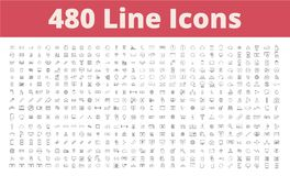 480 Line Icons. Bundle include business, school, money ui seo and more Stock Images