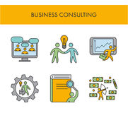 Line icons for business consulting. Vector linear set. For web Stock Photography