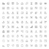 100 line icons. Business finances and shopping. Thin line icons set. 100 flat symbols about business, finances and shopping royalty free illustration