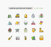 Line Icons Camping Equipment, Open Air Tourism Stock Images