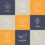 Line Icons CCTV Royalty Free Stock Photography