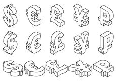 Line icons charset world currencies. Isometric set black line icons of currency symbols of the world - dollar, pound sterling, euro, yen, ruble on white Royalty Free Stock Photos