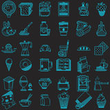 36 line icons collection for food. Set of 36 blue flat line icons for food on black background Stock Image