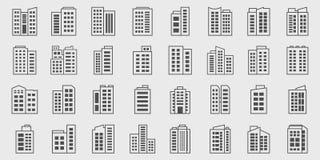 Line Icons Company, insieme di costruzione di vettore Fotografie Stock Libere da Diritti