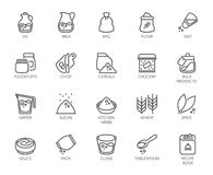 20 line icons on cookery theme. Outline logo isolated on white background. Editable Stroke. 48x48 Pixel Perfect Stock Image