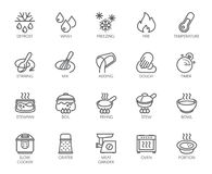 20 line icons for cooking theme. Vector set of outline symbols isolated on white background. Kitchen accessories labels. 20 line icons for cooking theme. Big Royalty Free Illustration