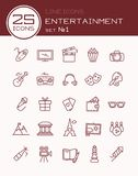Line icons entertainment set 1. Line icons entertainment set. Vector illustration Stock Photography