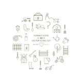 Line icons farmer round set. Farmer, gardeninng tools icons set on isolated  background. 20 high quality simple linier icons. Vector illustration, eps 8 Royalty Free Stock Photos