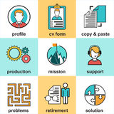 Line icons with flat design elements of customer service, client support, success business management. Stock Photo