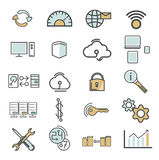 Line icons with flat design elements. Royalty Free Stock Image