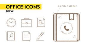 Line icons with flat elements of office appliances Royalty Free Stock Image